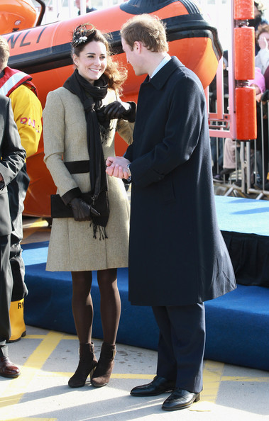 Kate Middleton Kate Middleton and Prince William smile as they visit Trearddur Bay Lifeboat Station at Anglesey on February 24, 2011 in Trearddur, Wales. The newly engaged couple named the Trearddur Bay Lifeboat Station's new Atlantic 85 inshore lifeboat the 'Hereford Endeavour.' The vessel was launched during the naming ceremony and the crew demonstrate some of her rescue capabilities. The country is gearing up for the much anticipated wedding of the couple scheduled to take place on April 29, 2011 at Westminster Abbey in London.