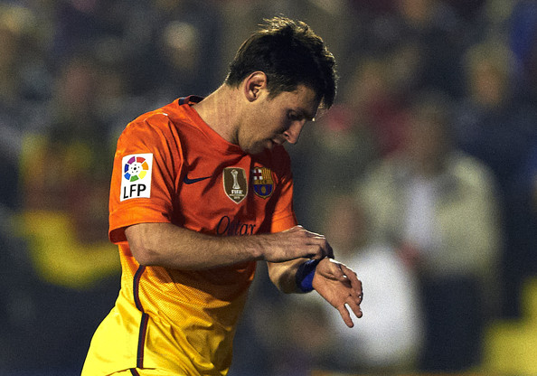Lionel Messi of Barcelona reacts after scoring during the la Liga match between Levante UD and FC Barcelona at Ciutat de Valencia on November 25, 2012 in Valencia, Spain.