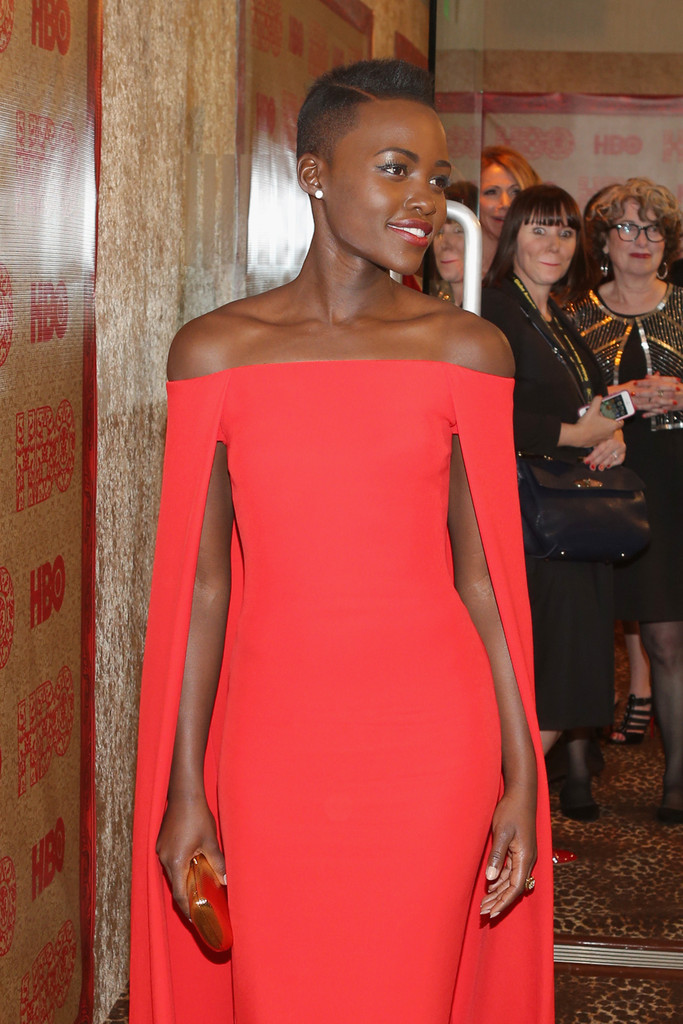lupita nyongo red dress 2014