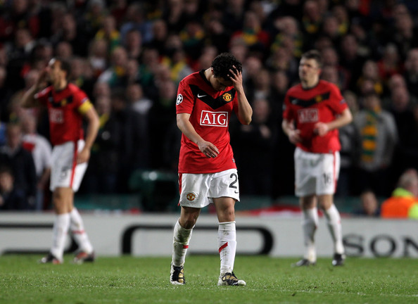 Rafael of Manchester United is sent off during the UEFA Champions League Quarter Final second leg match between Manchester United and Bayern Muenchen at Old Trafford on April 7, 2010 in Manchester, England.