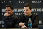 (L-R) Jonathan Knight and Jordan Knight of New Kids On The Block attend the New Kids On The Block Press Conference at Madison Square Garden on January 20, 2015 in New York City.