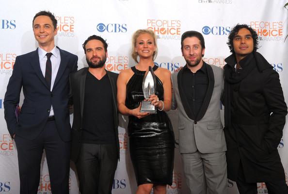 Kaley Cuoco Actors Jim Parsons, Johnny Galecki, Kaley Cuoco, Simon Helberg and Kunal Nayyar pose in the press room during the People's Choice Awards 2010 held at Nokia Theatre L.A. Live on January 6, 2010 in Los Angeles, California.