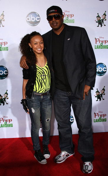 "Cymphonique Miller Actress Cymphonique Miller (L) and her father Master P attend the ""Prep & Landing"" film premiere at The El Capitan Theatre on November 16, 2009 in Hollywood, California."