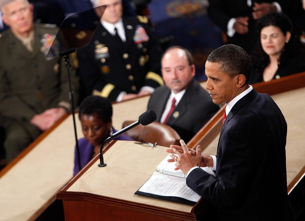 U.S. President Barack Obama speaks to both houses of Congress during his first State of the Union address at the U.S. Capitol on January 27, 2010 in Washington, DC. Since taking office a little over a year ago, Obama's approval ratings have dropped significantly according to recent polls.