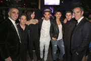 Founder of Republic Records Avery Lipman, Republic Records EVP Charlie Walk, actress/singer Sofia Carson, recording artists Roshon Fegan, Zendaya and Nick Jonas and founder and CEO of Republic Records Monte Lipman and attend the Republic Records / Big Machine Label Group Grammy Celebration on February 8, 2015 in Hollywood, California.