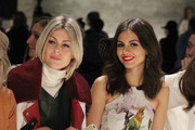 Victoria Justice (R) attendskj the Rebecca Minkoff fashion show with TRESemme during Mercedes-Benz Fashion Week Fall 2015 at The Pavilion at Lincoln Center on February 13, 2015 in New York City.