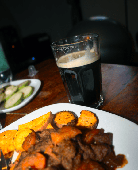 Guinness stew with a Guinness