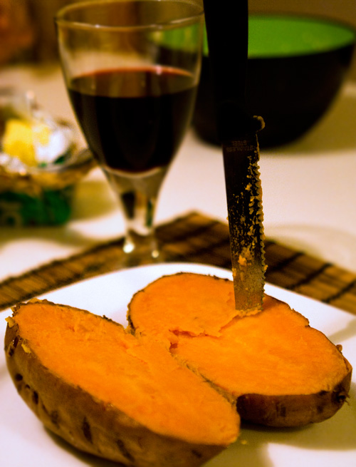 Baked, cut sweet potato