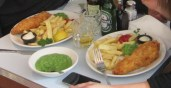 Fish & Chips with mashed peas on the side