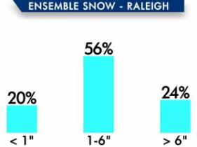 The ensemble snow forecast model took data from 51 different runs; 56 percent of those runs showed Raleigh getting 1 to 6 inches of snow.