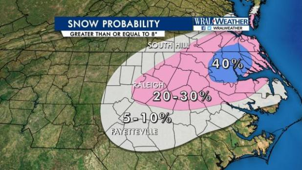 Snow probability, at least 8 inches, Jan. 5, 2017