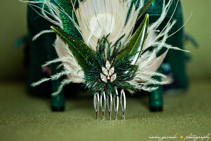 vintage green hair pin