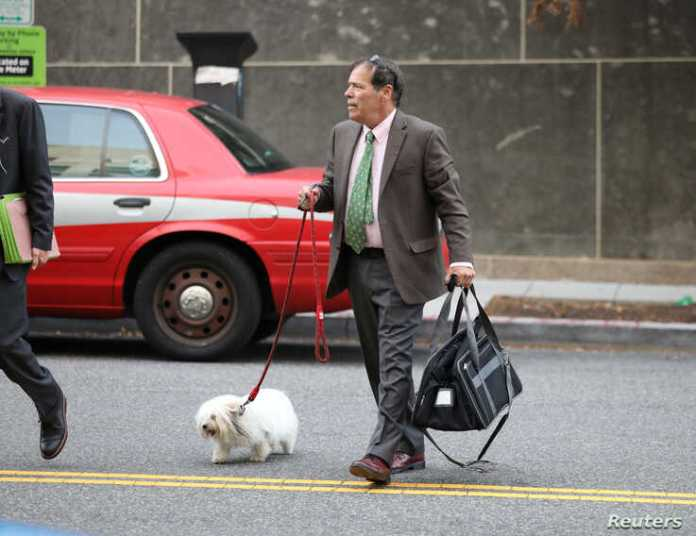 Randy Credico, an associate of former Trump campaign adviser Roger Stone, walks with his pet dog as he arrives to testify…