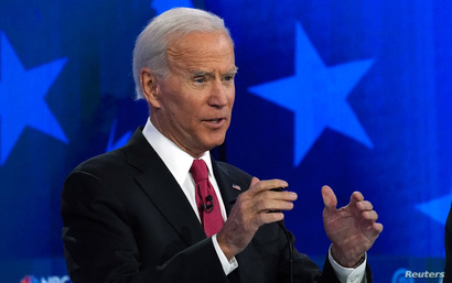 Former Vice President Joe Biden speaks during the U.S. Democratic presidential candidates debate at the Tyler Perry Studios in…