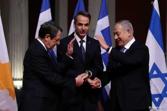 Cypriot President Nicos Anastasiades, Greek Prime Minister Kyriakos Mitsotakis and Israeli Prime Minister Benjamin Netanyahu…