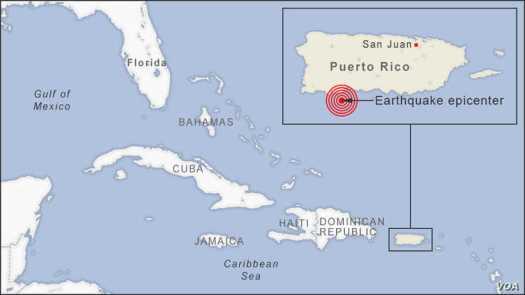 Earthquake epicenter near Puerto Rico, Jan. 6, 2020