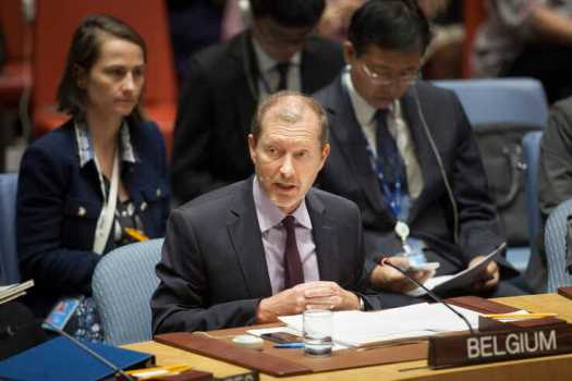 Marc Pecsteen de Buytswerve, permanent representative of Belgium to the United Nations, addresses a Security Council meeting, Sept. 18, 2019, at the United Nations, New York.
