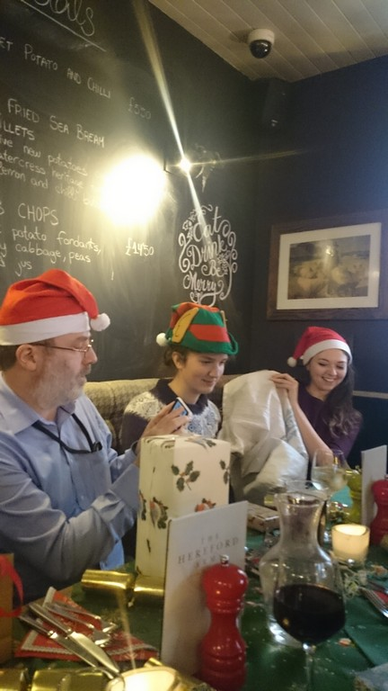 Double-blind Secret Santa (and another Christmas hat wearing supervisor)