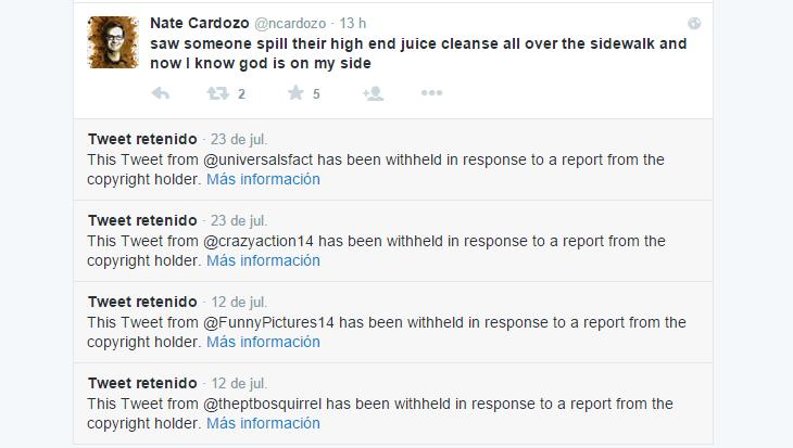 Tweets de un chiste eliminados por cuestión de derechos de autor.