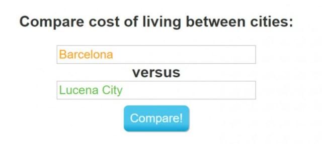 Comparador de costes de vida
