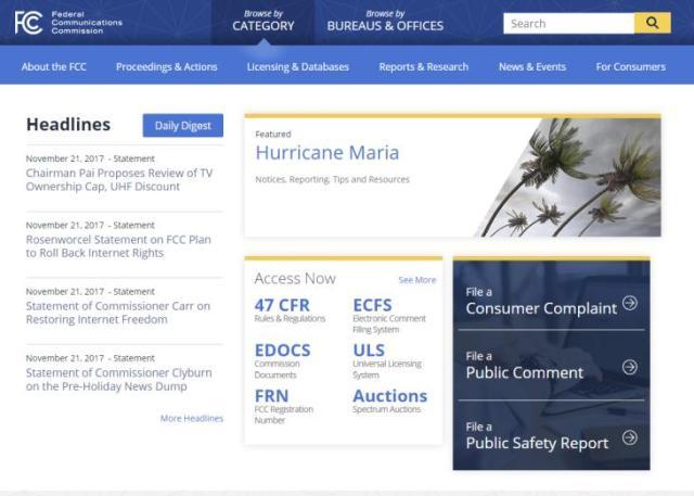 Imagen: Web de la FCC