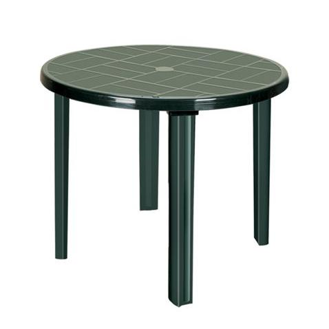 Green plastic round outdoor table with four legs - Buy ...