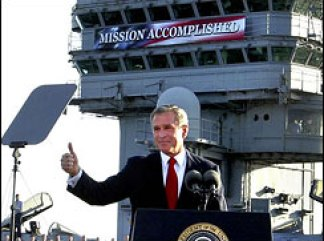 _In the Battle of Iraq, the United States and our allies have prevailed. And now our coalition is engaged in securing and reconstructing that country,_ President George W. Bush told the crew of the USS Abraham Lincoln May 1, 2003.