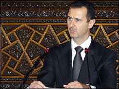Syrian President Bashar Assad addresses the opening session of the transit Arab Parliamentarian Union in Damascus, Syria