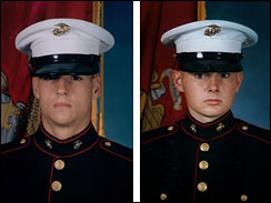 Undated file photos of former Marines Donald Ball from Valley City, Utah (left), and Dustin Heard from Knoxville, Tenn., provided by their defense attorneys. The two are among the five Blackwater contractors indicted in the 2007 shooting deaths of 17 Iraqi civilians. (CBS/AP)