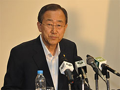 United Nations Secretary General Ban Ki-moon gives a press conference at Chaklala Airbase in Rawalpindi, Pakistan on Aug. 15, 2010.