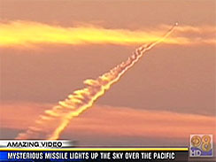 This image captured by a KCBS News helicopter shows an unidentified projectile launched from an unknown point in the Pacific Ocean, off the coast of Los Angeles, Nov. 8, 2010.