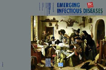 Cover of August 2008 Emerging Infectious Diseases from the CDC, featuring: Jan Steen (c. 1625–1679). Beware of Luxury (c. 1665). Oil on canvas 105 cm x 145 cm. Kunsthistorisches Museum, Vienna, Austria