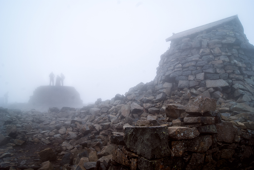 Ben Nevis summit in mist Three Peaks