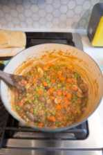 Vegetarian Shepherd's Pie cooking on the stove