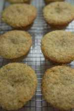 lemon poppy seed muffins cooling on a wire cooling rack