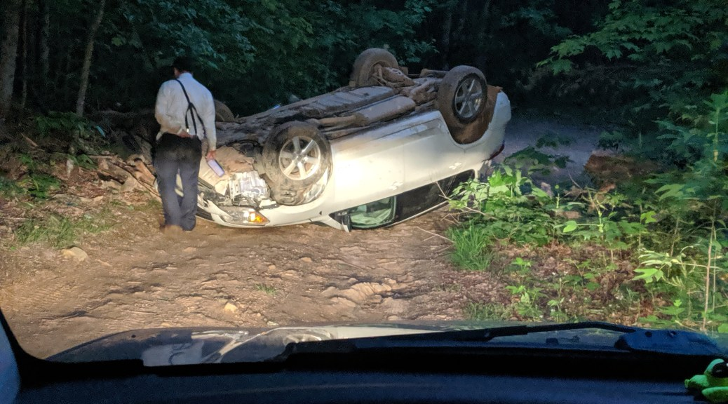 Vehicle rollover on an off road trail