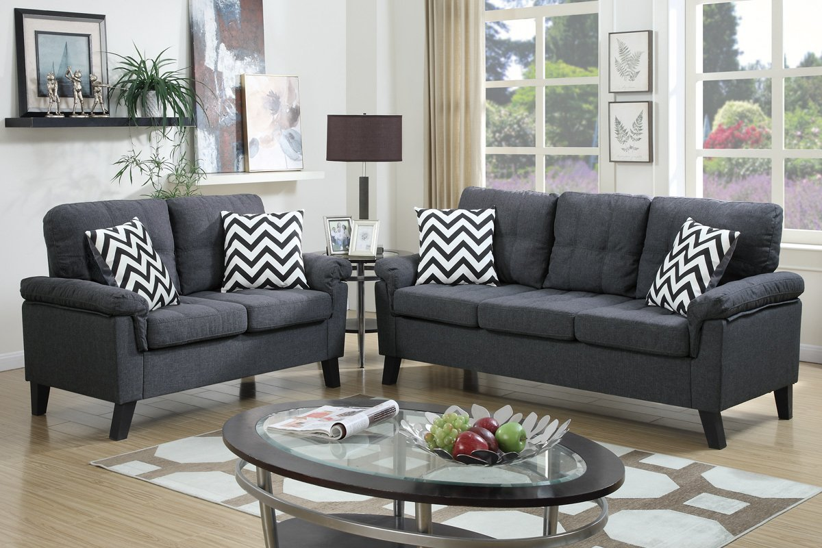 Poundex Aang F6905 Blue Grey Fabric Sofa And Loveseat Set