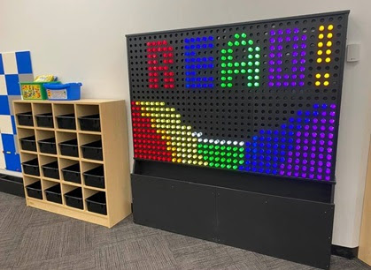 The pixel peg wall is just one of many hands-on play elements spread throughout the Idea Studio. (WYDaily/Courtesy of Williamsburg Regional Library)