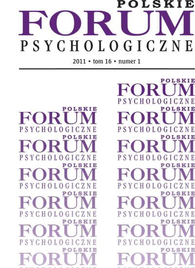 Polskie Forum Psychologiczne  tom 16 numer 1