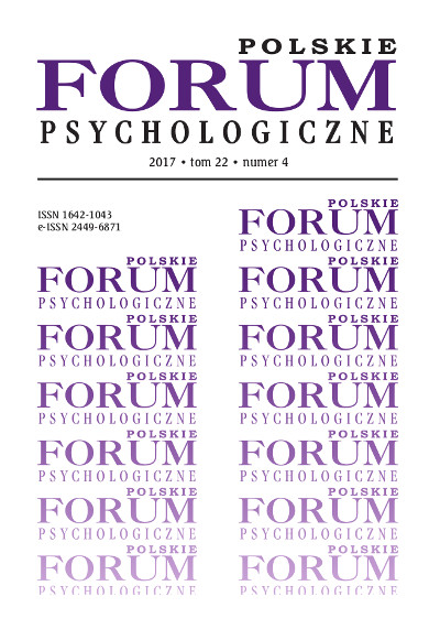 Polskie Forum Psychologiczne tom 22 numer 4
