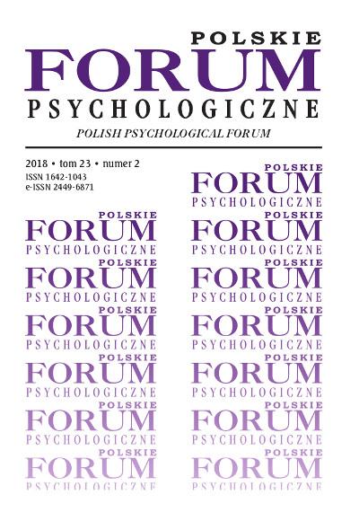 Polskie Forum Psychologiczne tom 23 numer 2