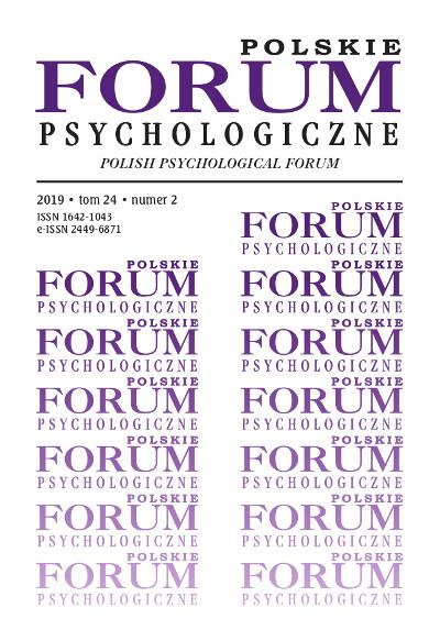 Polskie Forum Psychologiczne tom 24 numer 2