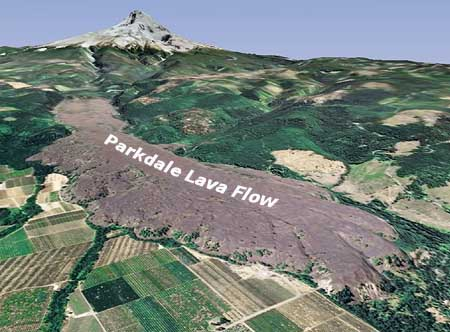 This Google Earth view looks south, from the toe of the Parkdale Lava Flow, toward its origin, at the foot of Mount Hood