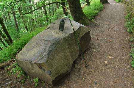Perfect for a trailside respite, the big rock bench is already a favorite of hikers