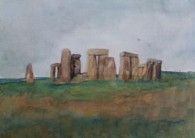 Stonehenge, watercolour by AnneMarie Foley