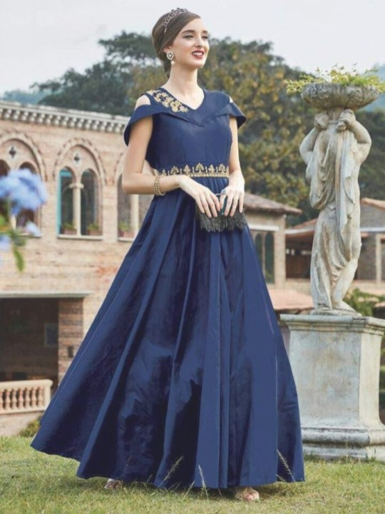 Blue Color Bollywood Indian Designer Wedding Party Gown Anarkali pertaining to Navy Blue Wedding Dress Indian - Wedding Dresses Ideas