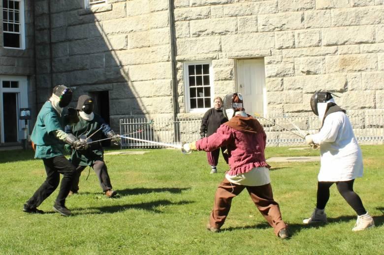 The art of rapier combat is presented at Fort Knox's Annual Medieval Tournament in Prospect, Maine. Photographer: Mistress Brita Mairi Svensdottir, (c) 2015.