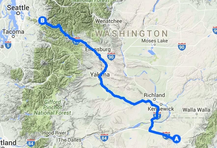 Westward OR to WA