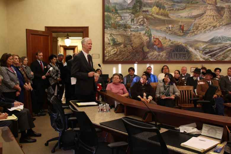 Wyoming Department of Health director Tom Forslund testifies in 2015. He has struggled to explain rising costs of Title 25 to lawmakers, repeatedly telling committees they are not under his department's control (Greg Nickerson/WyoFile)