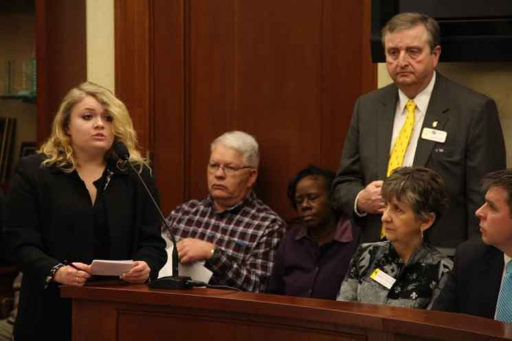 Christina Giarusso, a member of Wyoming Students for Concealed Carry, testified that she was assaulted on campus, and would feel safer if she could legally carry a gun. (Gregory Nickerson/WyoFile)
